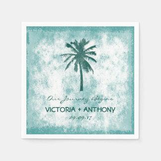 Tropical Palm Tree Beach Wedding Disposable Napkin