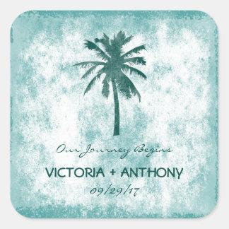Tropical Palm Tree Beach Wedding Square Sticker