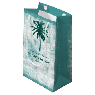 Tropical Palm Tree Beach Wedding Thank You Small Gift Bag