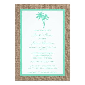 Tropical Palm Tree Burlap Beach Bridal Shower 13 Cm X 18 Cm Invitation Card