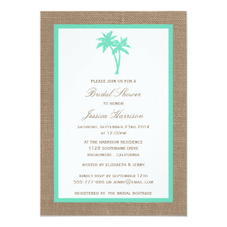 Tropical Palm Tree Burlap Beach Bridal Shower 13 Cm X 18 Cm Invitation Card