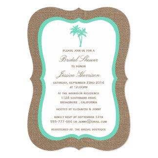 Tropical Palm Tree Burlap Beach Bridal Shower 5x7 Paper Invitation Card