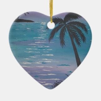 Tropical Palm Tree Ceramic Heart Decoration