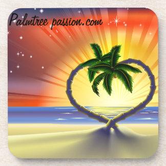 tropical palm tree drink coaster
