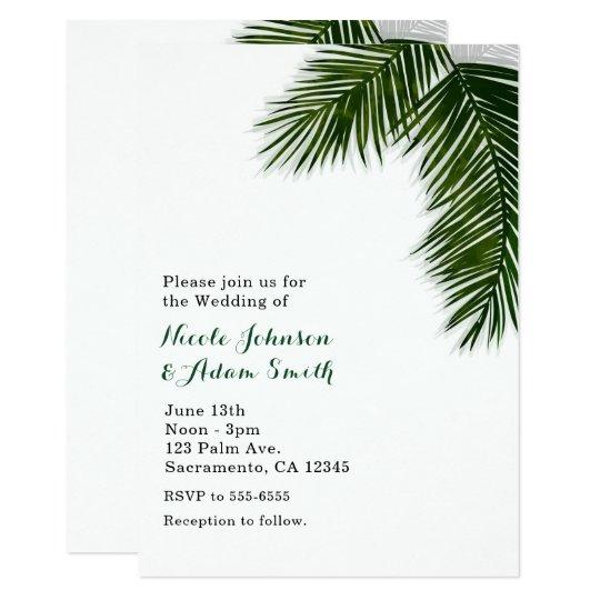 Tropical Palm Tree Leaf Elegant Wedding Invitation