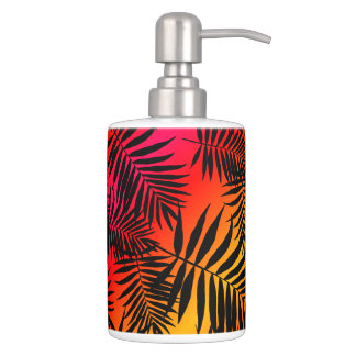 Tropical Palm Tree Leaf Shadow On Sunset Bathroom Set