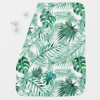 Tropical Palm Tree Leaves Pattern Baby Blanket