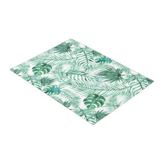 Tropical Palm Tree Leaves Pattern Door Mat