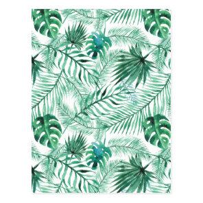 Tropical Palm Tree Leaves Pattern Postcard