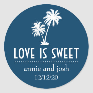 Tropical Palm Tree Love Is Sweet Label (Navy Blue) Round Sticker
