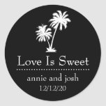 Tropical Palm Tree Love Is Sweet Labels (Black) Round Sticker
