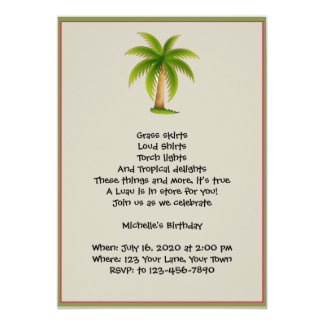 Tropical Palm Tree Luau Party Invitation