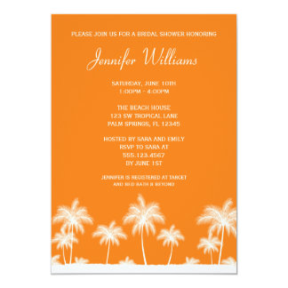 Tropical Palm Tree Orange Bridal Shower Invitation