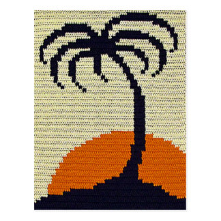 Tropical Palm Tree Orange Sunset Crochet Print on Postcard