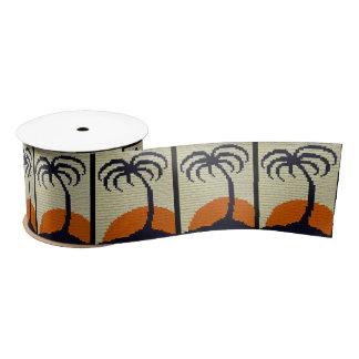 Tropical Palm Tree Orange Sunset Crochet Print on Satin Ribbon