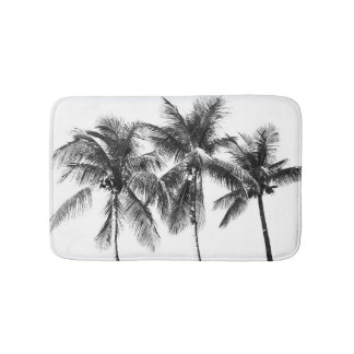 Tropical palm tree paradise summer black and white bath mats