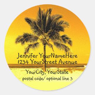 Tropical Palm Tree return address labels Round Sticker