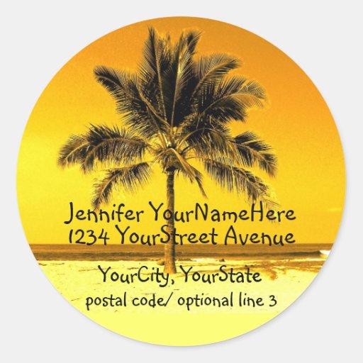 Tropical Palm Tree return address labels Sticker