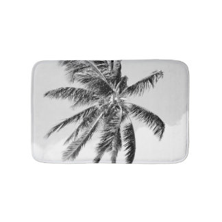 Tropical palm tree summer photo black and white bath mats
