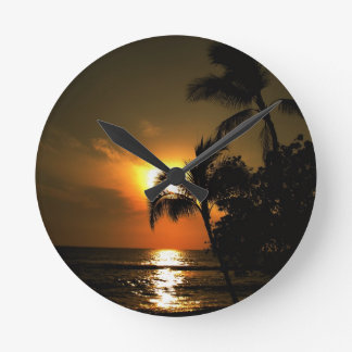 Tropical Palm Tree Sunset Round Clock