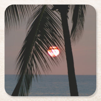 Tropical Palm Tree Sunset Square Paper Coaster
