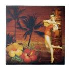tropical Palm Tree totem pole hawaiian girl aloha Tile