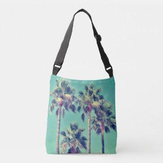 Tropical Palm Trees against a Teal Sky Crossbody Bag