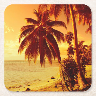 Tropical palm trees at a beach at sunset coaster square paper coaster
