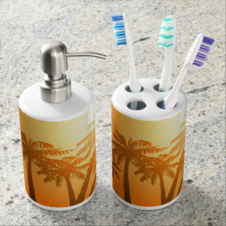 Tropical palm trees at sunset soap dispensers