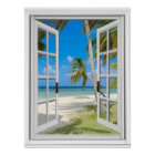 Tropical Palm Trees Beach Ocean View Fake Window Poster