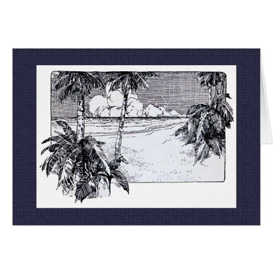 Tropical Palm Trees Beach Vintage Art Card