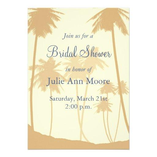 Tropical Palm Trees Bridal Shower Announcements