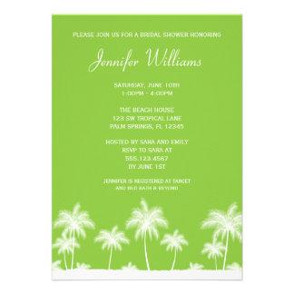 Tropical Palm Trees Green Bridal Shower Invitation