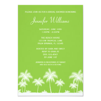 Tropical Palm Trees Green Bridal Shower Invitation