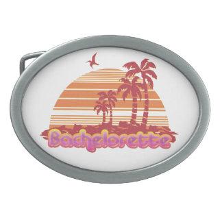 tropical palm trees hawaii bachelorette party oval belt buckles