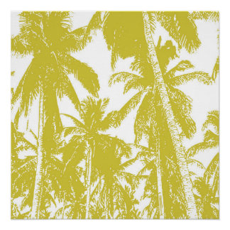 Tropical Palm Trees in Golden Brown Poster