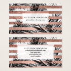 Tropical palm trees modern rose gold stripes business card