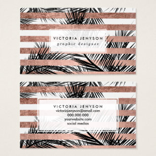 Tropical palm trees exotic business cards business card printing tropical palm trees modern rose gold stripes business card colourmoves
