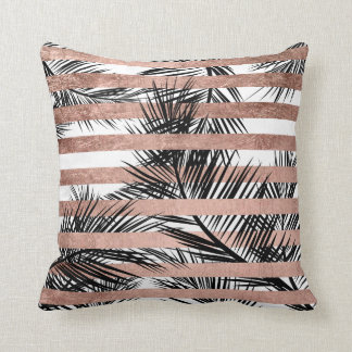 Tropical palm trees modern rose gold stripes cushion