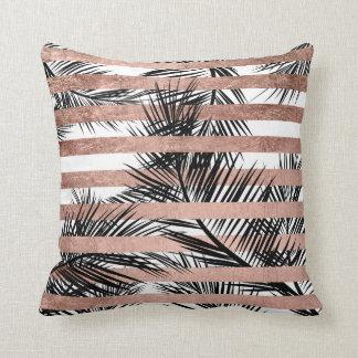 Tropical palm trees modern rose gold stripes cushion