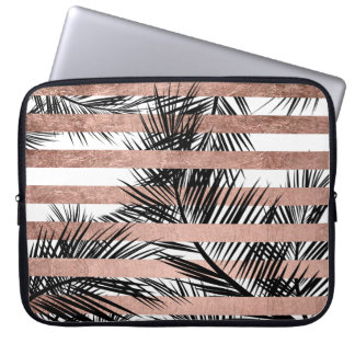 Tropical palm trees modern rose gold stripes laptop sleeve