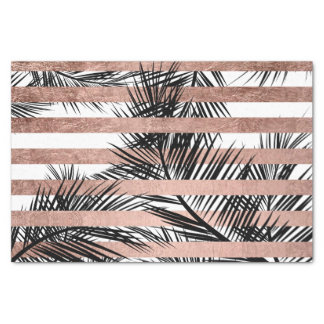 Tropical palm trees modern rose gold stripes tissue paper