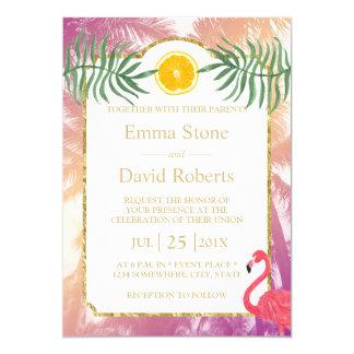 Tropical Palm Trees & Orange Fruit Summer Wedding Card