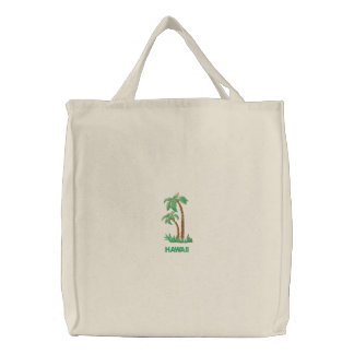 Tropical Palm Trees Personalized Beach Embroidered Tote Bag