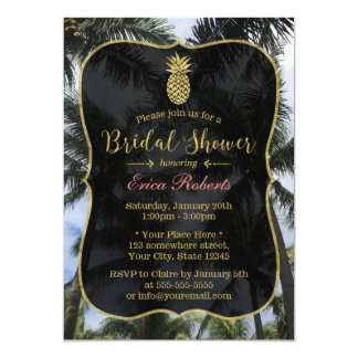 Tropical Palm Trees & Pineapple Bridal Shower 13 Cm X 18 Cm Invitation Card