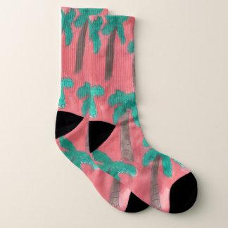 Tropical Palm Trees Pink Socks
