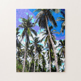Tropical Palm Trees. Posterised design. Jigsaw Puzzle
