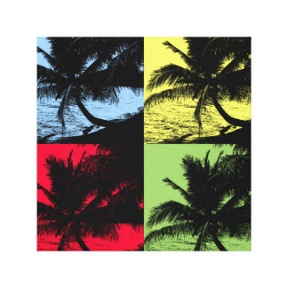 Tropical Palm Trees. Repeated posterised design. Canvas Print