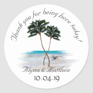 Tropical Palm Trees Round Wedding Sticker
