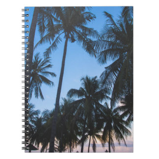 Tropical palm trees silhouette spiral notebook